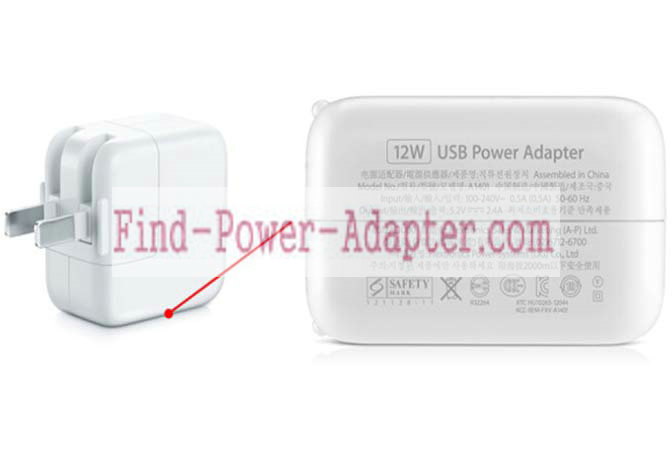 Apple 5.2V 2.4A 12W USB Power Adapter A1401 Tip USB Charger For Apple iPhone iPad