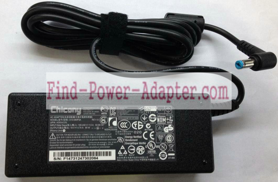 Chicony A10-090P3A 19V 4.74A AC/DC Adapter - Chicony A10-090P3A 19V 4.74A Power Supply Cord Tip 5.5m
