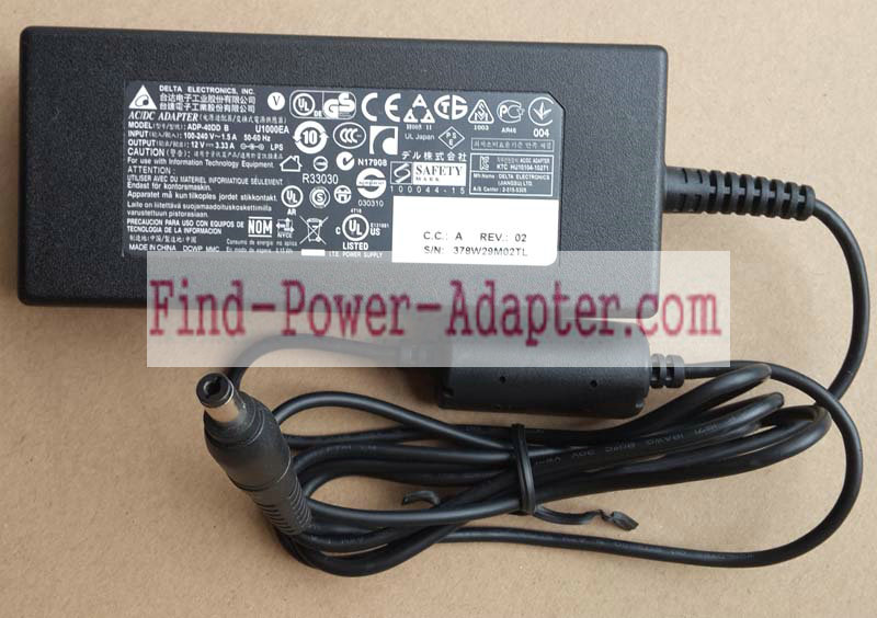 ADP-40DD B PA-1041-71 XY3VK 4WW5R Dell 12V 3.33A 40W AC Power Adapter