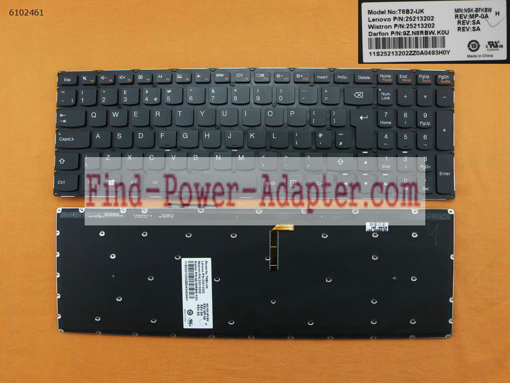 Lenovo Edge 15 80H1 15.6 Ideapad U530 Touch Keyboard 25213202 T6B2-UK 9Z.N8RBW.K0U