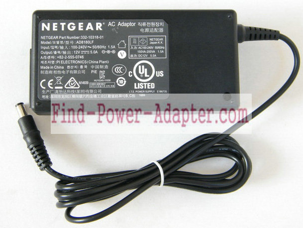 AD8180LF 332-10318-01 Replacement Netgear 12V 5A 60W AC Power Adapter Supply Tip 5.5mm x 2.1mm