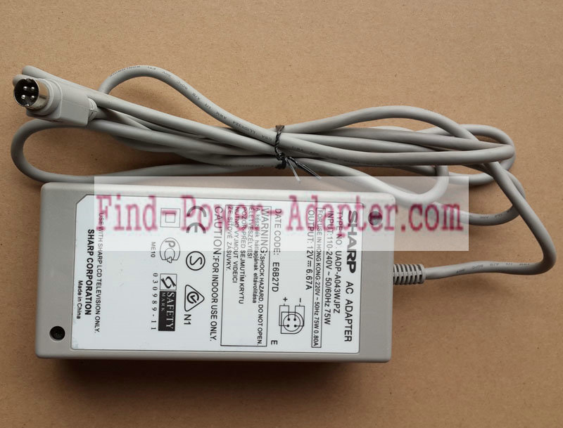 Replacement Sharp UADP-A043WJPZ 12V 6.67A 80W AC Power Adapter Supply Tip 4 Pin With Round Head